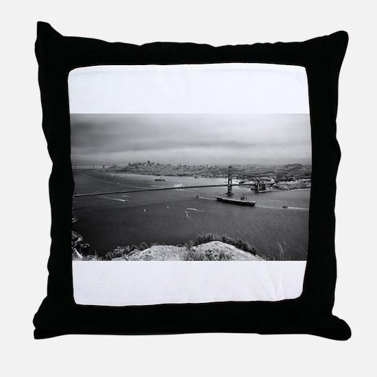 USS Nimitz - Golden Gate Bridge Throw Pillow