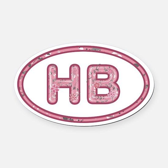 HB Pink Oval Car Magnet