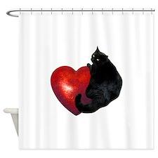Black Cat Heart Shower Curtain