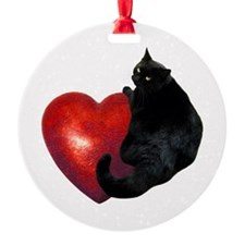 Black Cat Heart Ornament