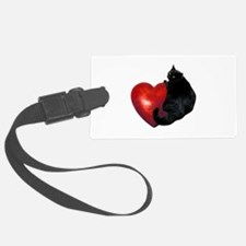 Black Cat Heart Luggage Tag