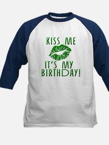 Green Kiss Me It's My Birthday Kids Baseball Jerse