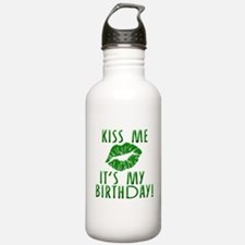 Green Kiss Me It's My Birthday Water Bottle
