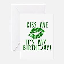 Green Kiss Me It's My Birthday Greeting Cards (Pk