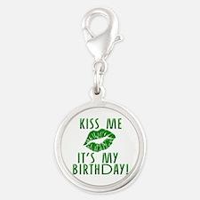 Green Kiss Me It's My Birthday Silver Round Charm