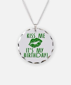 Green Kiss Me It's My Birthday Necklace