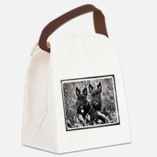 Sisters - Scottish Terriers in BW Canvas Lunch Bag