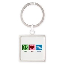 Peace Love Surfing Square Keychain