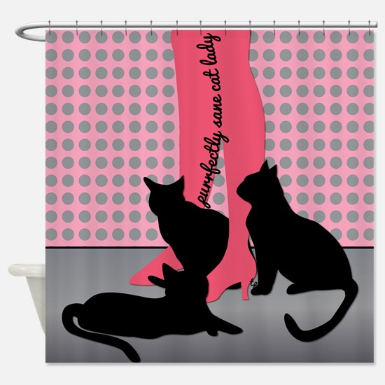 Purrfectly Sane Cat Lady Shower Curtain