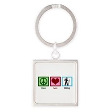 Peace Love Hiking Square Keychain