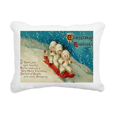 Christmas Sledding Child Rectangular Canvas Pillow