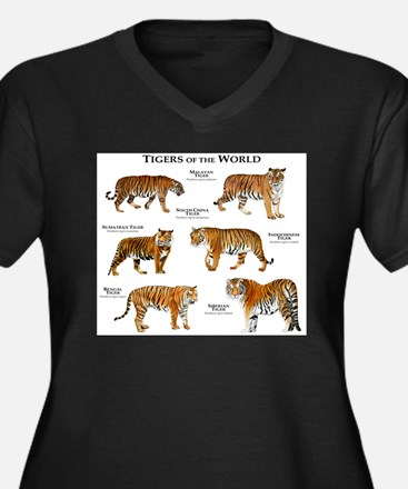 Tigers of the World Women's Plus Size V-Neck Dark