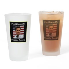 I Voted For Romney Drinking Glass