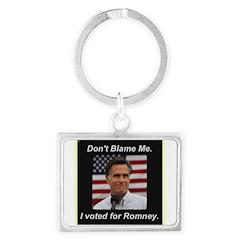 I Voted For Romney Landscape Keychain