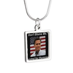 I Voted For Romney Silver Square Necklace