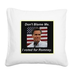 I Voted For Romney Square Canvas Pillow