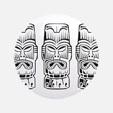 "Three Tiki Statues 3.5"" Button (100 pack)"