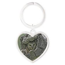 Saw-Whet Owl Heart Keychain