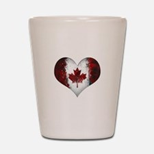 Canadian heart 2 Shot Glass