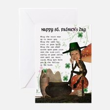 St. Patrick's Day Card With Leprechaun And Blessin