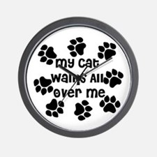 Cat Walks all over Me Wall Clock