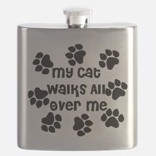 Cat Walks all over Me Flask