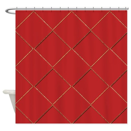 Red And Gold Diamonds Shower Curtain By Cheriverymery
