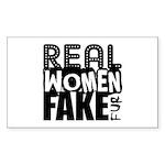 Real Women Fake Fur Sticker (Rectangle)