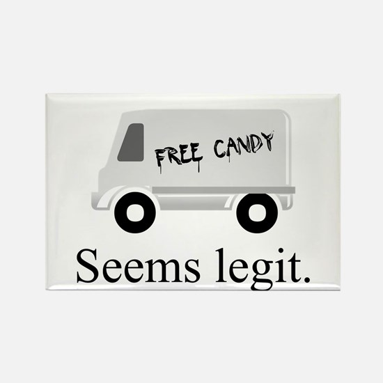 Free candy? Seems legit. Rectangle Magnet