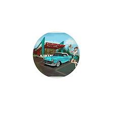 1957 Classic Car-Car Hop Pin-up Mini Button
