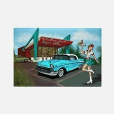 1957 Classic Car-Car Hop Pin-up Rectangle Magnet