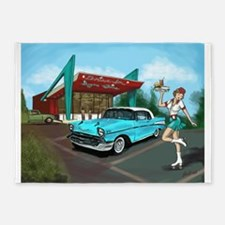 1957 Classic Car-Car Hop Pin-up 5'x7'Area Rug