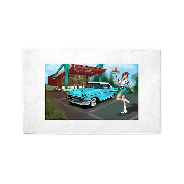 1957 Classic Car-Car Hop Pin-up 3'x5' Area Rug By ArdrasArt