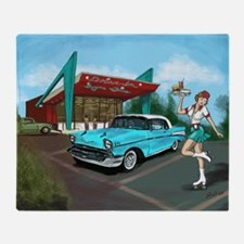 1957 Classic Car-Car Hop Pin-up Throw Blanket