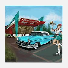 1957 Classic Car-Car Hop Pin-up Tile Coaster