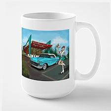 1957 Classic Car-Car Hop Pin-up Large Mug