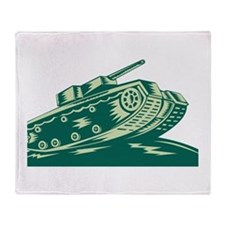 World War Two Battle Tank Throw Blanket