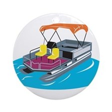 Pontoon Boat Retro Ornament (Round)