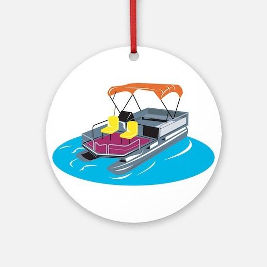 Pontoon Boat Retro Ornament (Round)