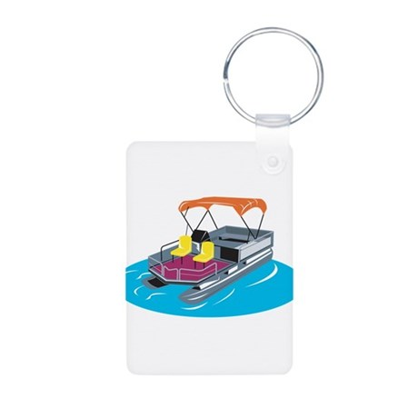 Pontoon Boat Retro Aluminum Photo Keychain
