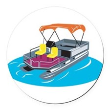 Pontoon Boat Retro Round Car Magnet