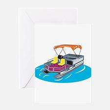 Pontoon Boat Retro Greeting Card
