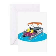 Pontoon Boat Retro Greeting Cards (Pk of 10)