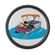 Pontoon Boat Retro Large Wall Clock
