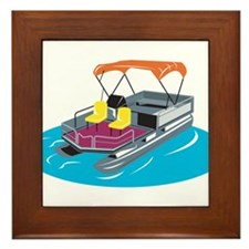 Pontoon Boat Retro Framed Tile
