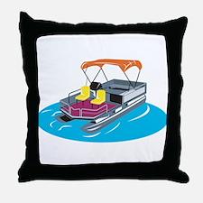 Pontoon Boat Retro Throw Pillow