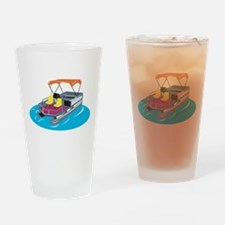 Pontoon Boat Retro Drinking Glass