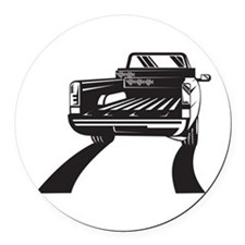 Pickup Truck Rear Retro Round Car Magnet