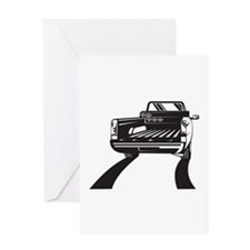 Pickup Truck Rear Retro Greeting Card
