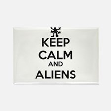 Keep Calm And Aliens Rectangle Magnet